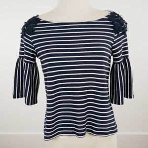 Banana Republic Striped Lace Tunic Top Bell Sleeve